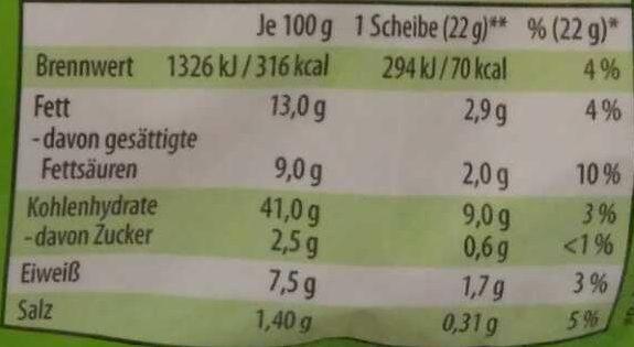 Snaguette - Voedingswaarden