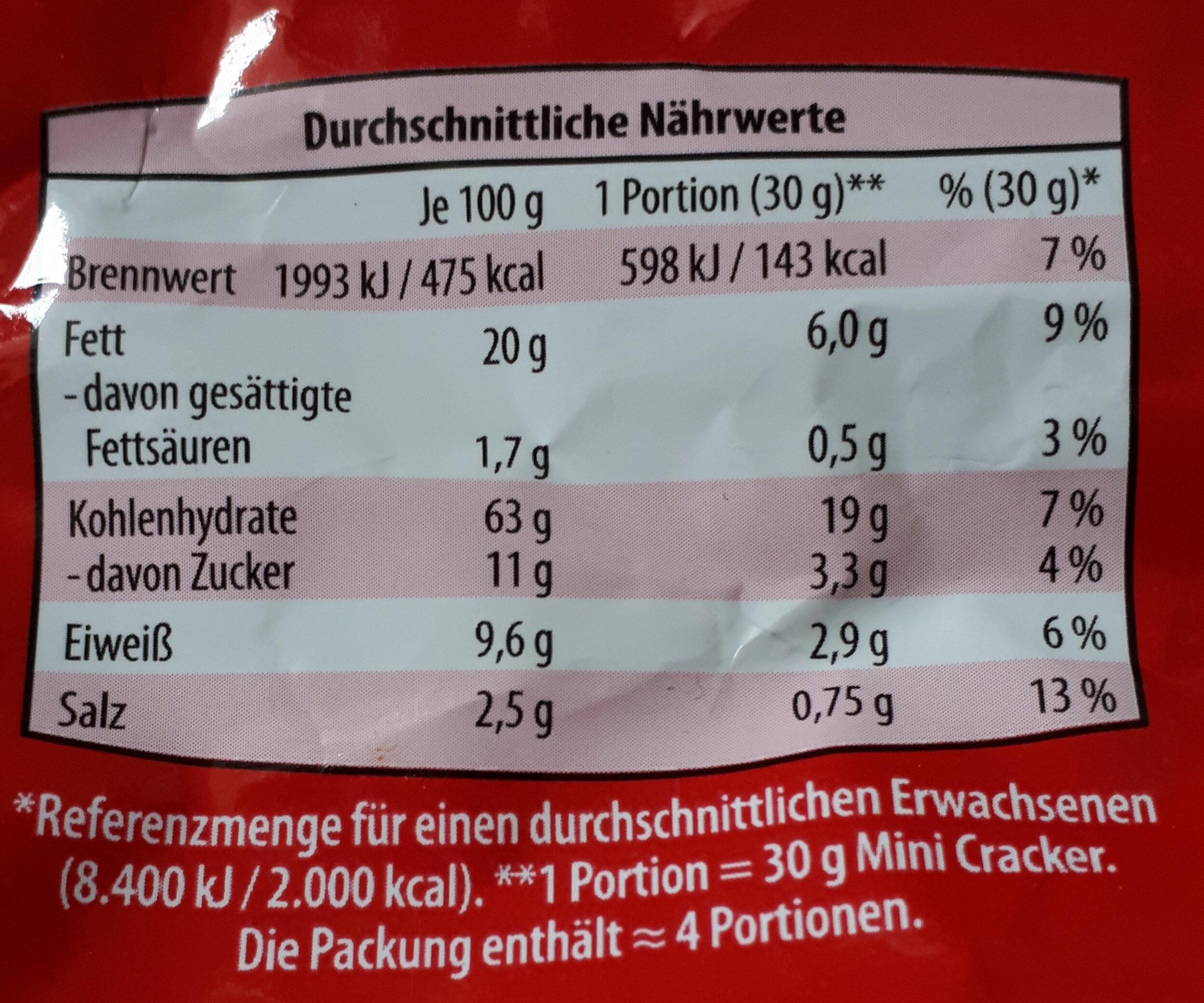 Mini-Cracker Sesam - Nutrition facts - de