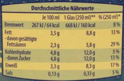 Frische Vollmilch 3,5% Fett - Valori nutrizionali - de