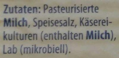 7 Scheiben Käse-Aufschnitt 4x Edamer, 2x Tilsiter, 1x Emmentaler - Inhaltsstoffe