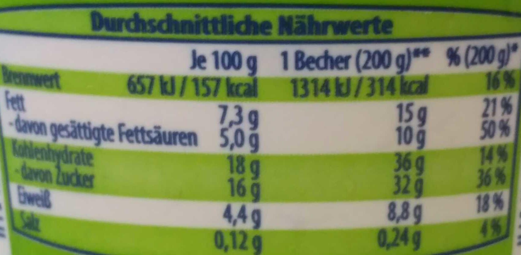 Creme Dessert mit Schokolade Zabalone - Voedingswaarden - de