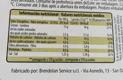 Sapori della Sicilia - Información nutricional