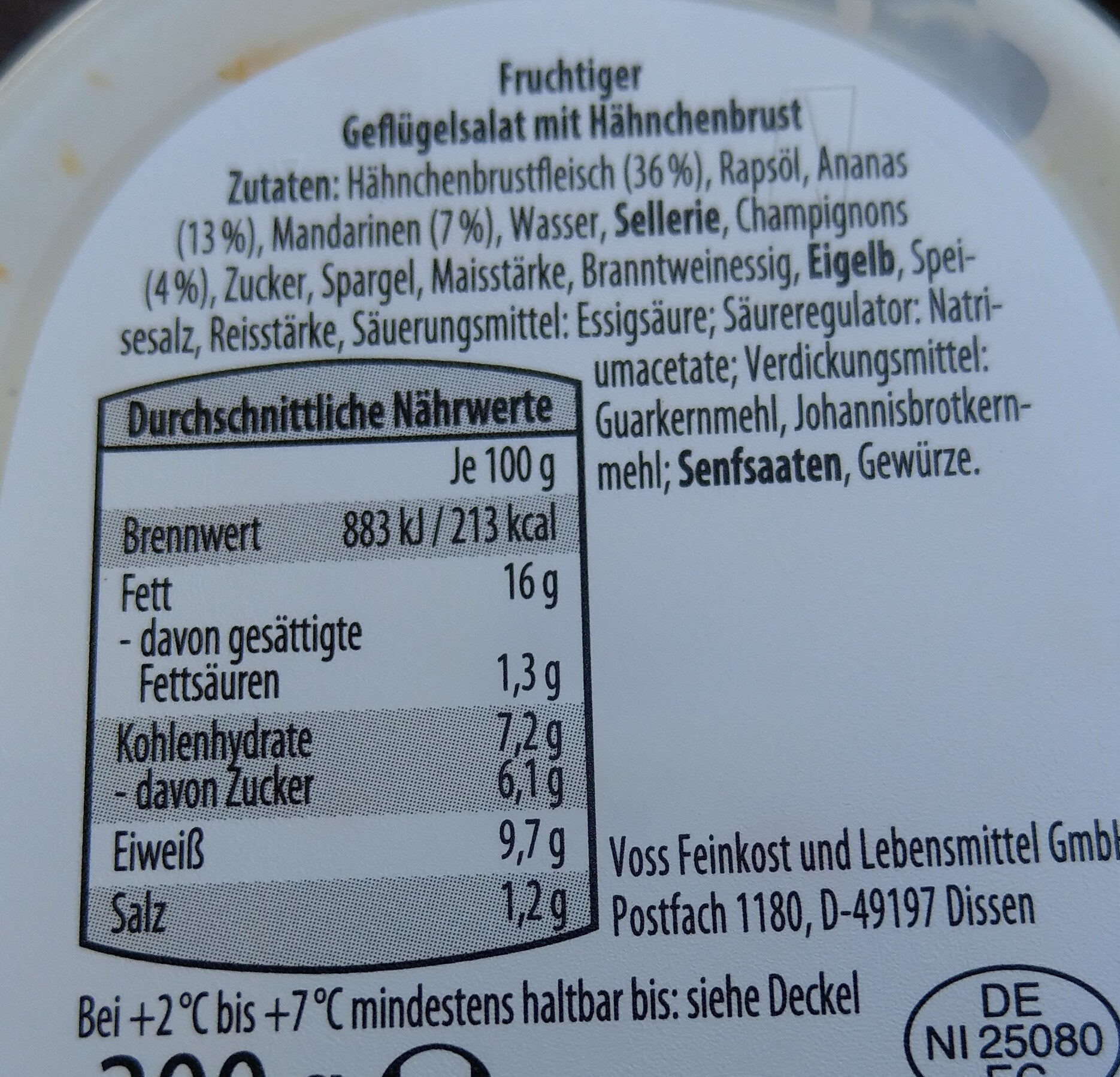 Geflügelsalat - Ingrédients - de