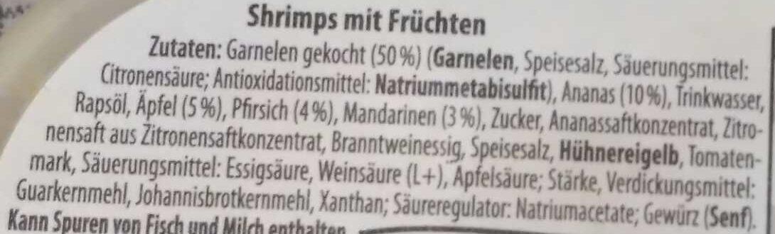 Shrimps mit Früchten - Ingrediënten