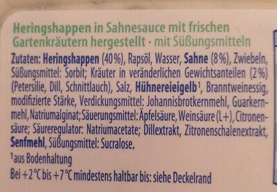 Heringshappen in Sahnesauce - Zutaten - de