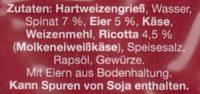 Frische Tortelloni gefüllt mit Ricotta & Spinat - Ingredients - de