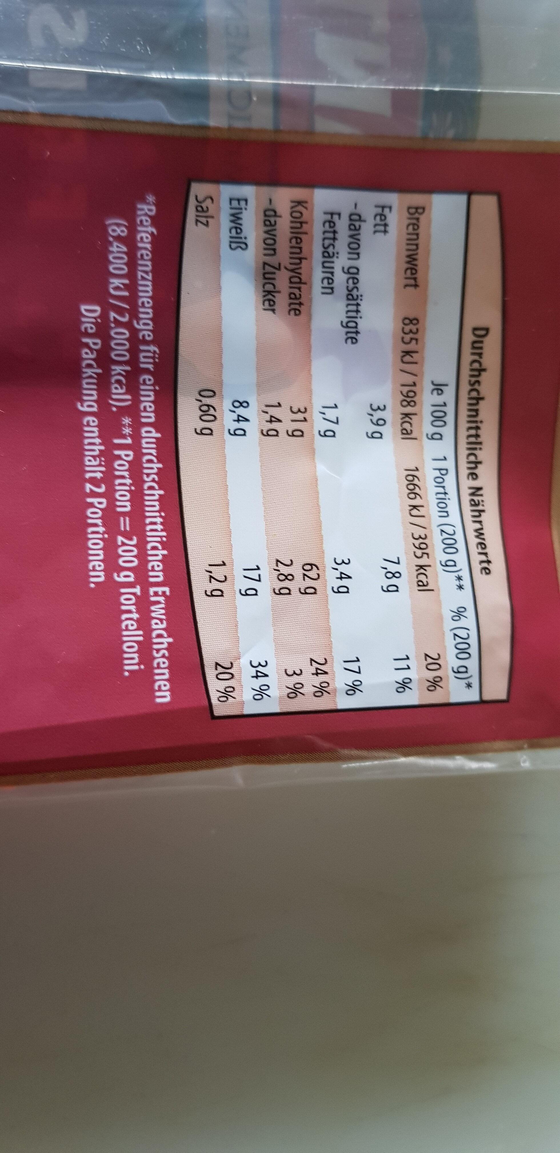 Frische Tortelloni gefüllt mit Ricotta & Spinat - Nutrition facts - de