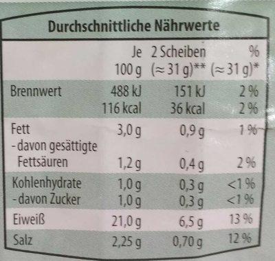 Delikatess Kassler gegart geräuchert - Nährwertangaben