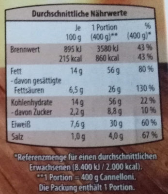 Cannelloni Vier Käse - Nutrition facts - de