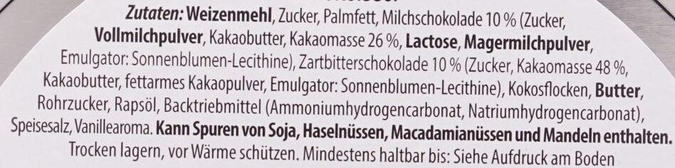 Danish Cookies, Milch- und Zartbitterschokolade - Ingredients - de
