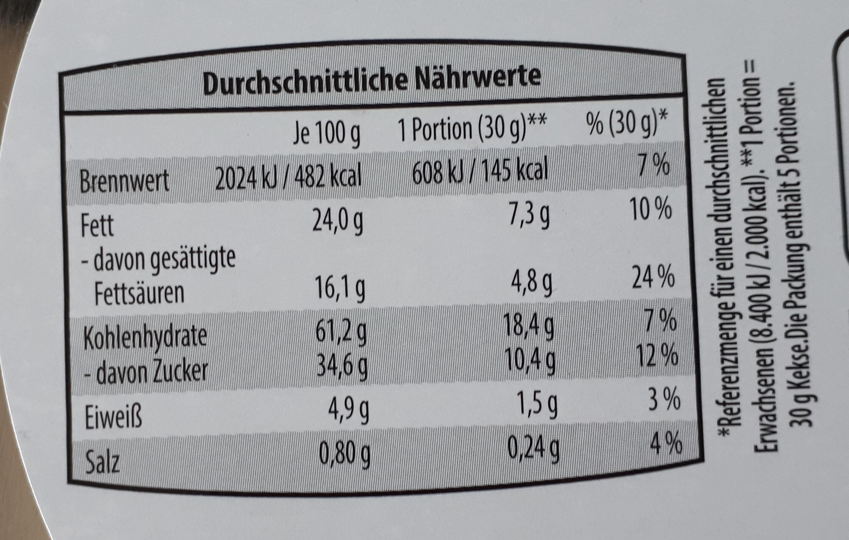 Galletas Danesas. Chocolate con leche y chocolate negro - Nutrition facts