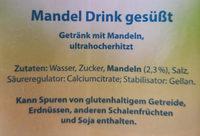 Mandel Drink ungesüßt - milsa - Inhaltsstoffe