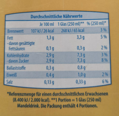 Mandel Drink ungesüßt - milsa - Nährwertangaben