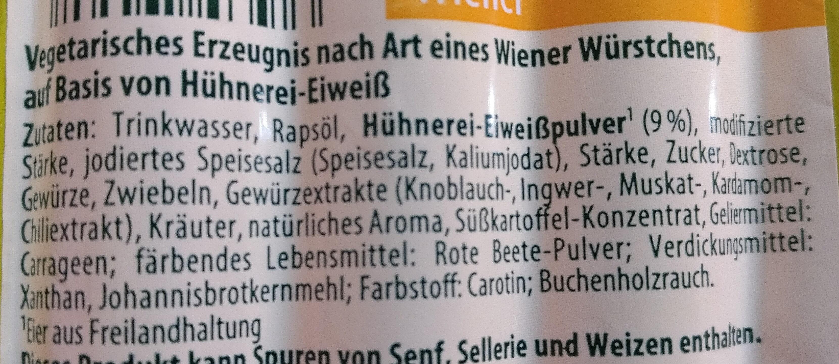 Mein Veggie Tag Heute Veggie Wiener Aus Hühnerei eiweiß - Ingrédients - de