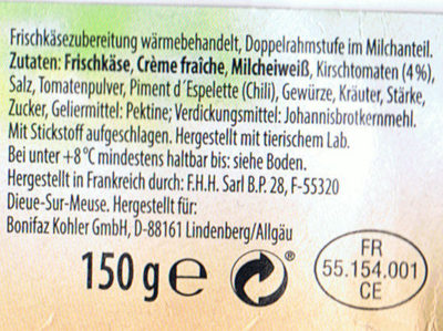 """Fraîcho Frischkäse """"Kirschtomate-Chili"""" - Ingredients"""