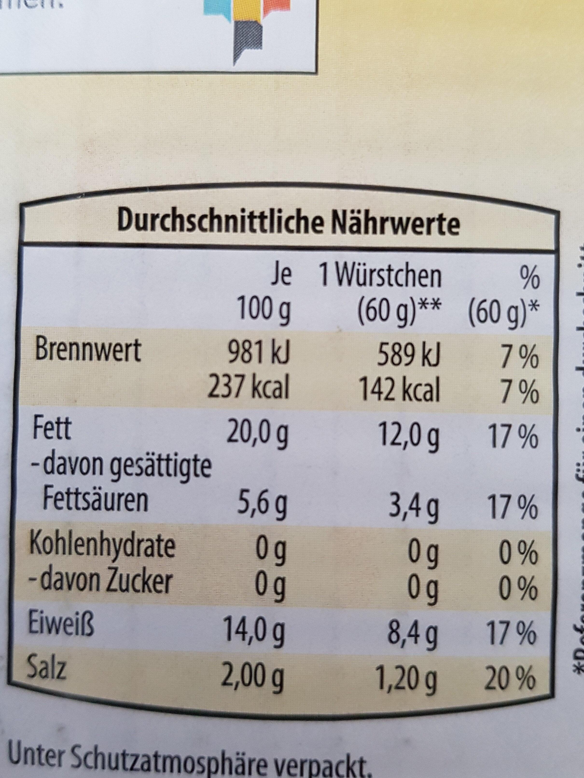 Geflügel-Wiener - Nährwertangaben