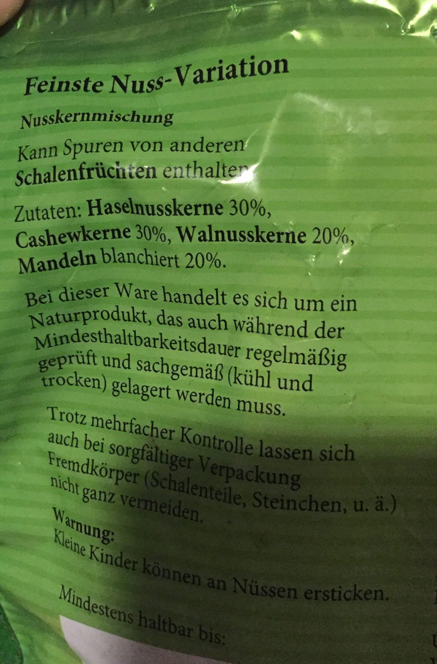 Nuss-Variation - Ingredients - de