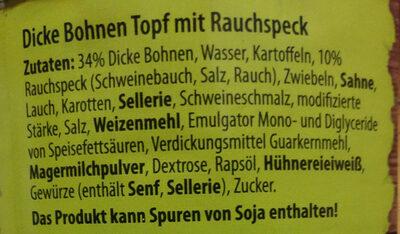 Traditionelle Eintöpfe Dicke Bohnen Topf mit Rauchspeck - Ingredients
