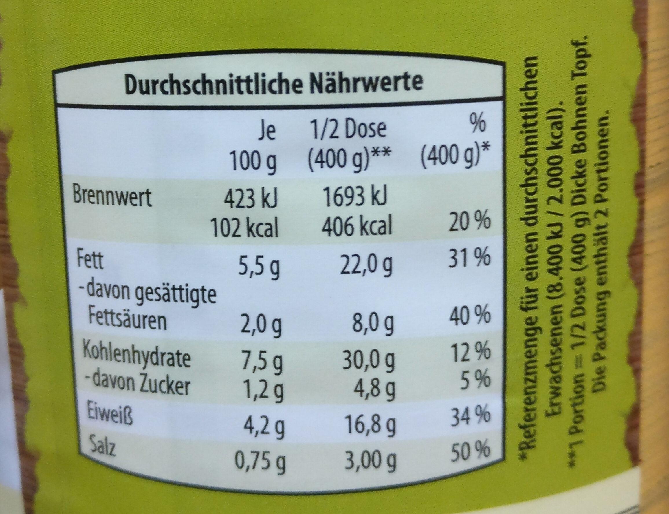 Traditionelle Eintöpfe Dicke Bohnen Topf mit Rauchspeck - Nutrition facts