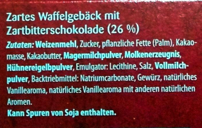 Schoko Waffelröllchen Zartbitter - Ingrediënten - de