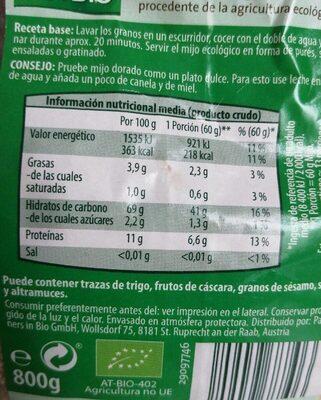 Mijo - Informació nutricional - de