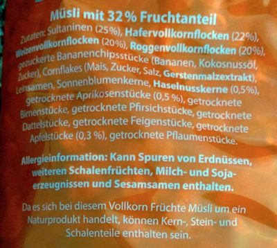 Traubenzucker müsli - Zutaten - de