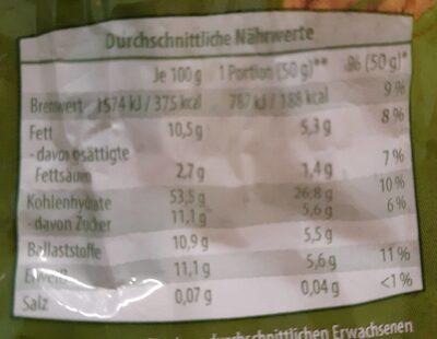 Traubenzucker müsli - Nährwertangaben - de