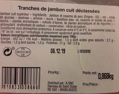Tranches de jambon cuit déclassées - Informació nutricional - fr