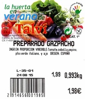 Preparado para gazpacho - Ingredientes