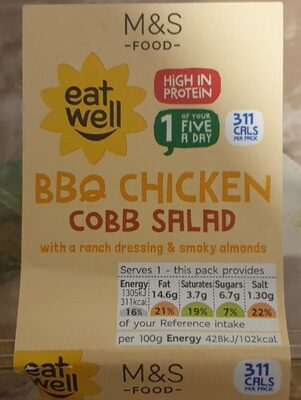 Bbq Chicken Cobb Salad with a ranch dressing e smoky almonds - Product - en