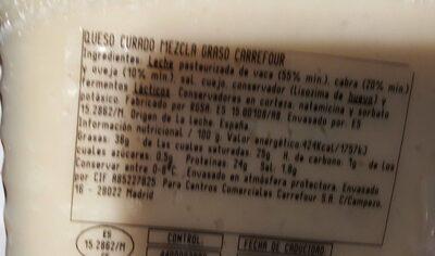 QUESO CURADO MEZCLA GRADO CARREFOUR - Informations nutritionnelles - es