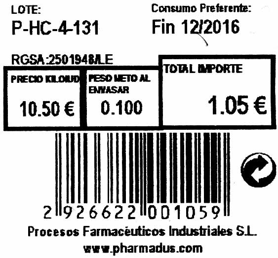 Tomillo seco molido - Informació nutricional