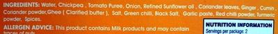 Chana Masala Chick Peas in Spiced Gravy - Ingredients - en