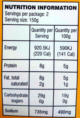 Chana Masala Chick Peas in Spiced Gravy - Nutrition facts