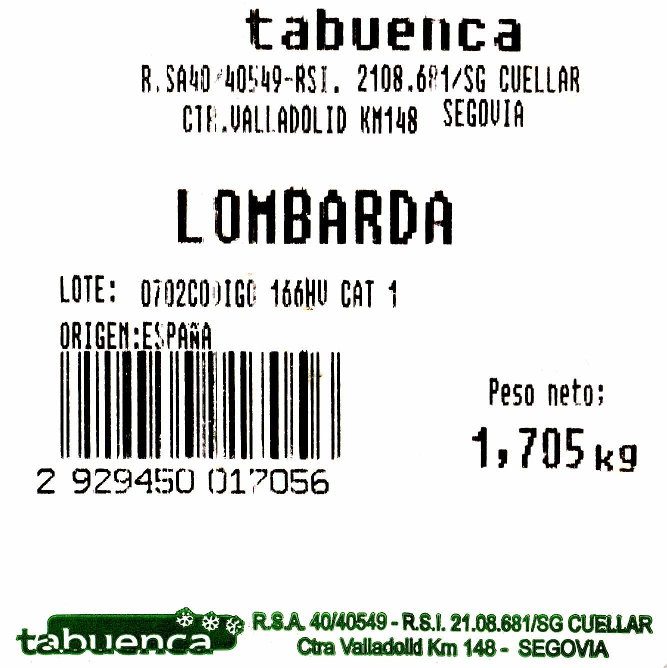 Lombarda - Ingredientes