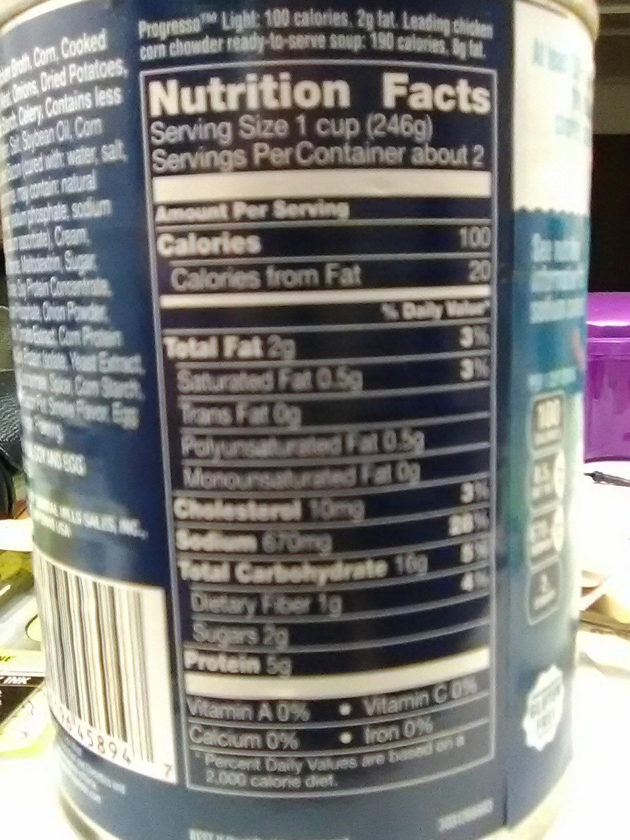 Chicken Corn Chowder - Nutrition facts