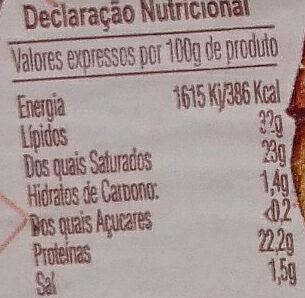 Queijo curado amanteigado - Informations nutritionnelles - pt