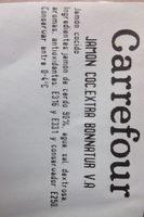 Jamon cocido extra Bonnatur V.A - Ingredientes - es