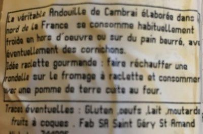 Véritable Andouille de Cambrai - Ingrediënten - fr