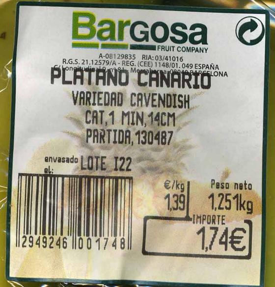 "Plátanos ""Bargosa"" - Ingrediënten"