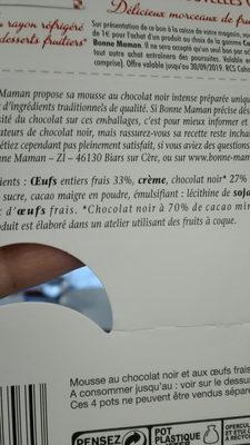 mousse au chocolat noir intense - Ingrediënten - fr