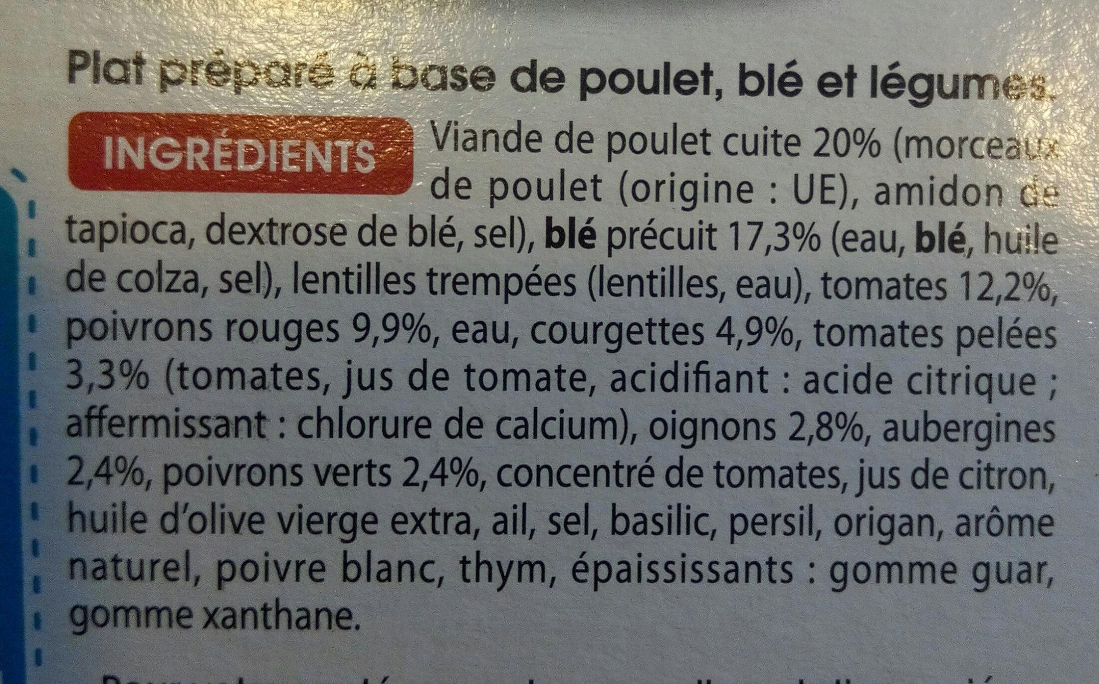 Lentilles cuisinees poulet et petits egumes - Ingredients - fr