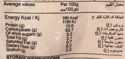 Whole Meal Bread - Valori nutrizionali - en
