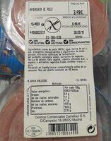 Hamburguesa de pollo - Información nutricional