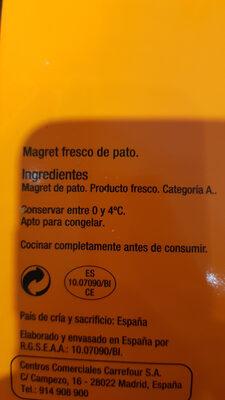 Magret fresco de pato - Ingrédients - es