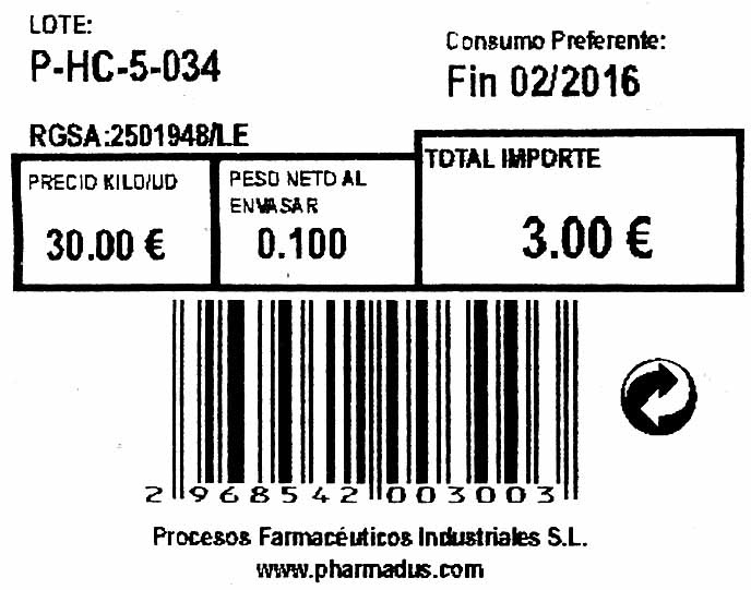 Hierba luisa seca molida - Informations nutritionnelles