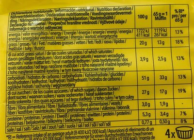 Muffins choco - Informations nutritionnelles - es