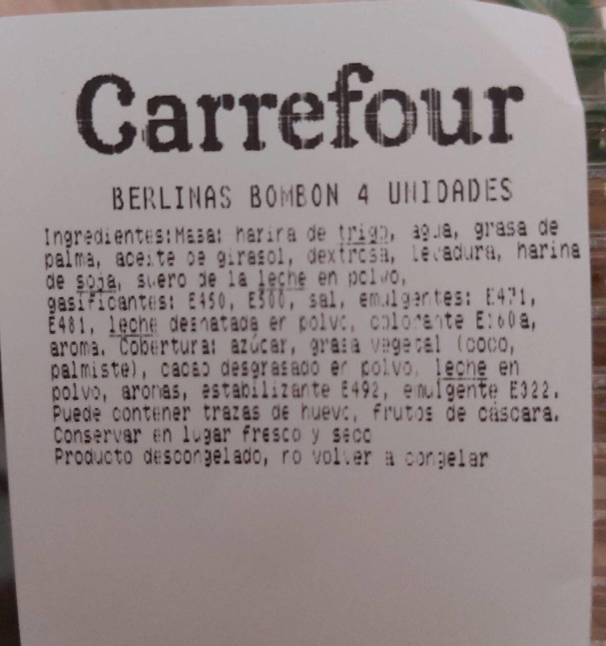Berlinas bombón cuatro unidades - Información nutricional