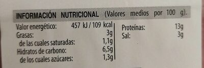 Paleta caramelo - Información nutricional - es