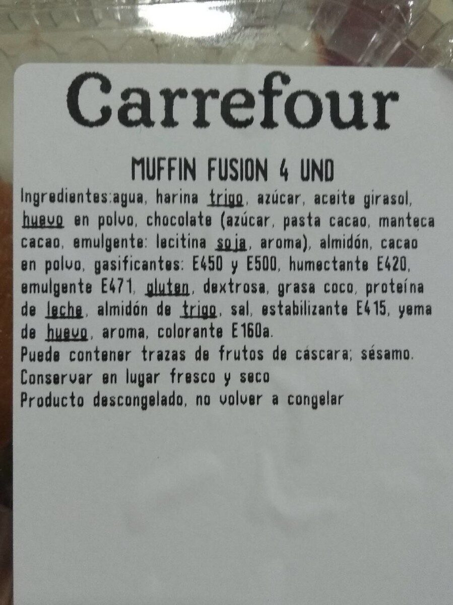 Muffin fusion - Informations nutritionnelles - es